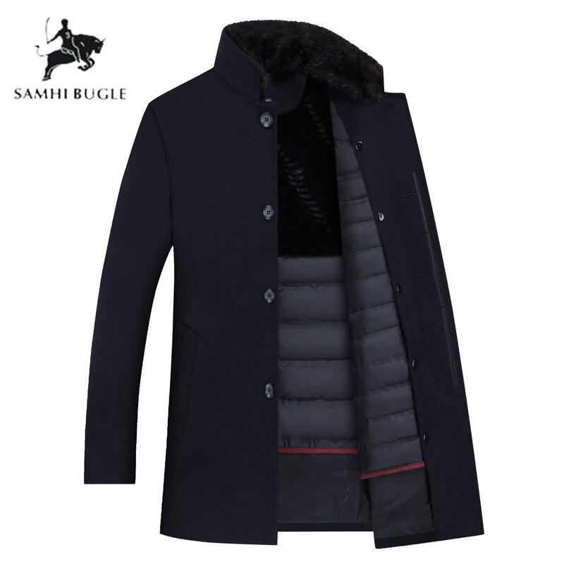 SAMHI BUGLE Wool Trench Coat Men,men's 90% White Duck Down Wool Jackets ,thicked Wool Coat Men, Men's Coat Plus-size M-XXXL 8866