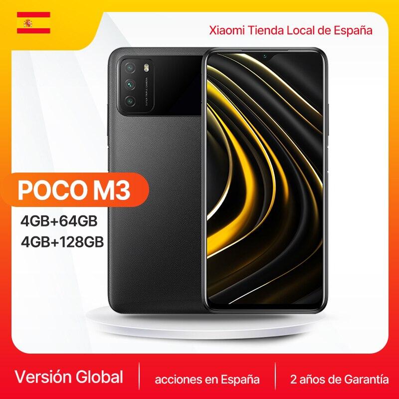 POCO M3 teléfono inteligente  versión Global, 4GB y 64GB /4GB y 128GB los teléfonos móviles, Snapdragon 662, pantalla de 6,53 pulgadas, cámara de 48MP, batería de 6000mAh, Carga rápida 18W almacén españa