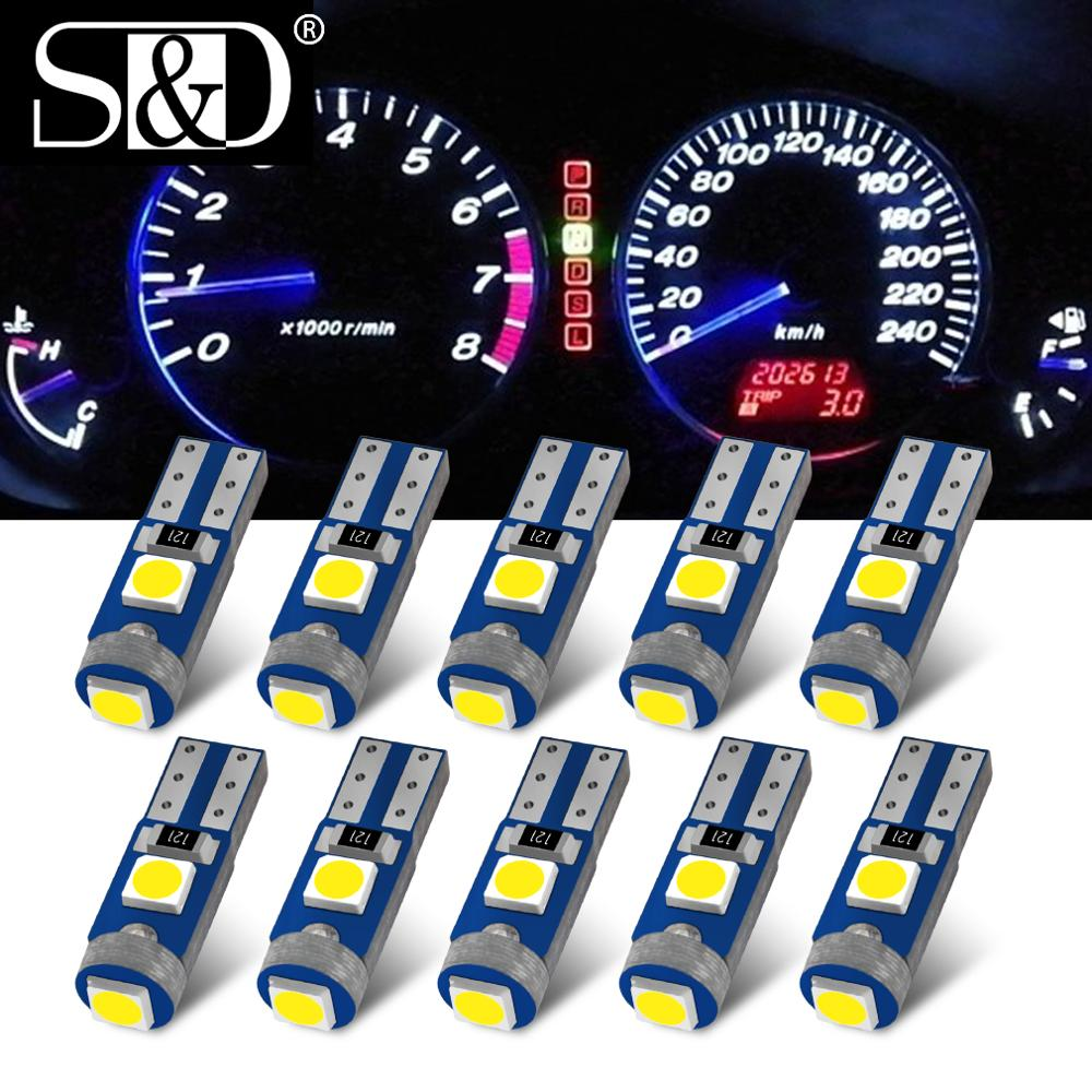 10Pcs <font><b>T5</b></font> <font><b>LED</b></font> Lights W1.2W W3W <font><b>LED</b></font> Super Bright 3030 <font><b>LED</b></font> Car Interior Light Auto Side Wedge Dashboard Gauge Instrument Lamp Bulb image