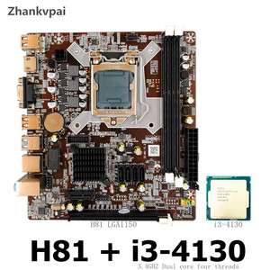 Zhankvpai H81 LGA 1150 motherboard with Intel Core i3-4130 CPU 3.4 GHZ dual Core support DDR3 USB 3.0 VGA HDMI