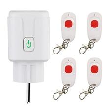 433MHZ AC 110V 220V Smart Plug Adaptor Remote Control Power Monitor Socket Outlet Function Work With 20m Transmitter