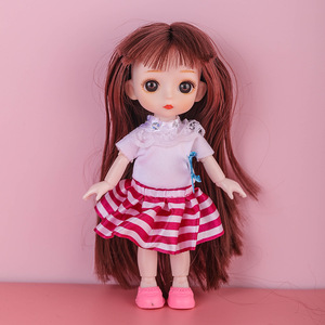New Bjd Doll 13 Articulated Doll Mini 3D Eye Baby Girl Doll Set Free Gift Shoes Nude Girl Toy Gift Fashion Dress Up Children Toy