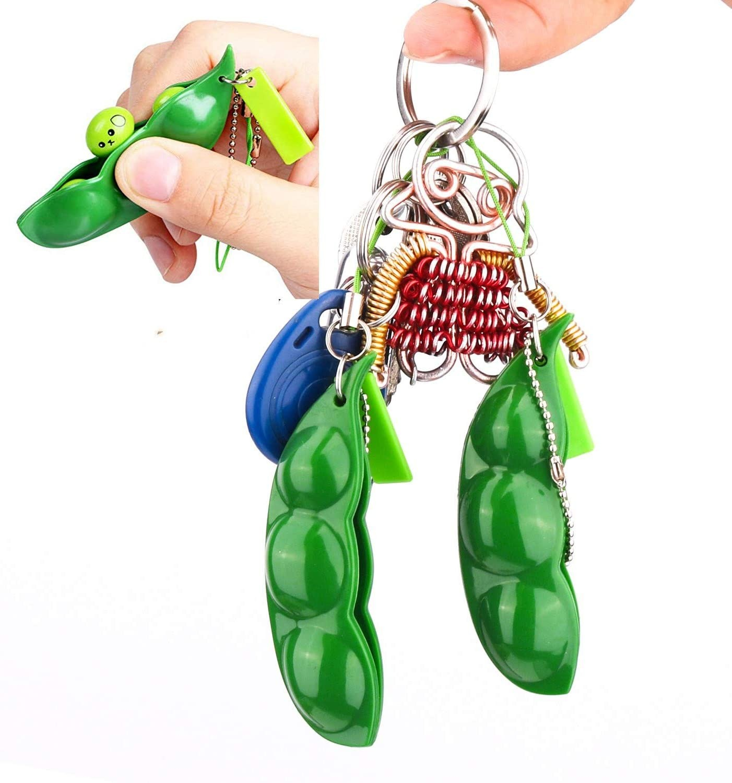 Keychain Bean Fidget Pea-Stress Improve Squeeze Edamame Squishy Focus-Toy Relief Key-Pendant img4