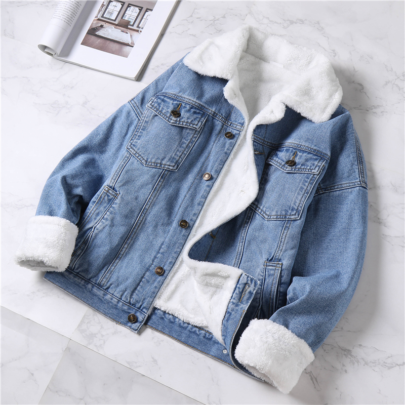 thicken fleece warm denim coat white lamb fur liner pocket solid loose female outwear jackets fashion tops