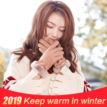 New Lovely Touch Screen Mittens Winter Female Warm Thick Cashmere Suede gloves Women Student Outdoor Cycling Sports Ski Glove sparsil women winter velvet touch screen gloves warm fleece full finger cashmere mittens windproof elegant glove female girl