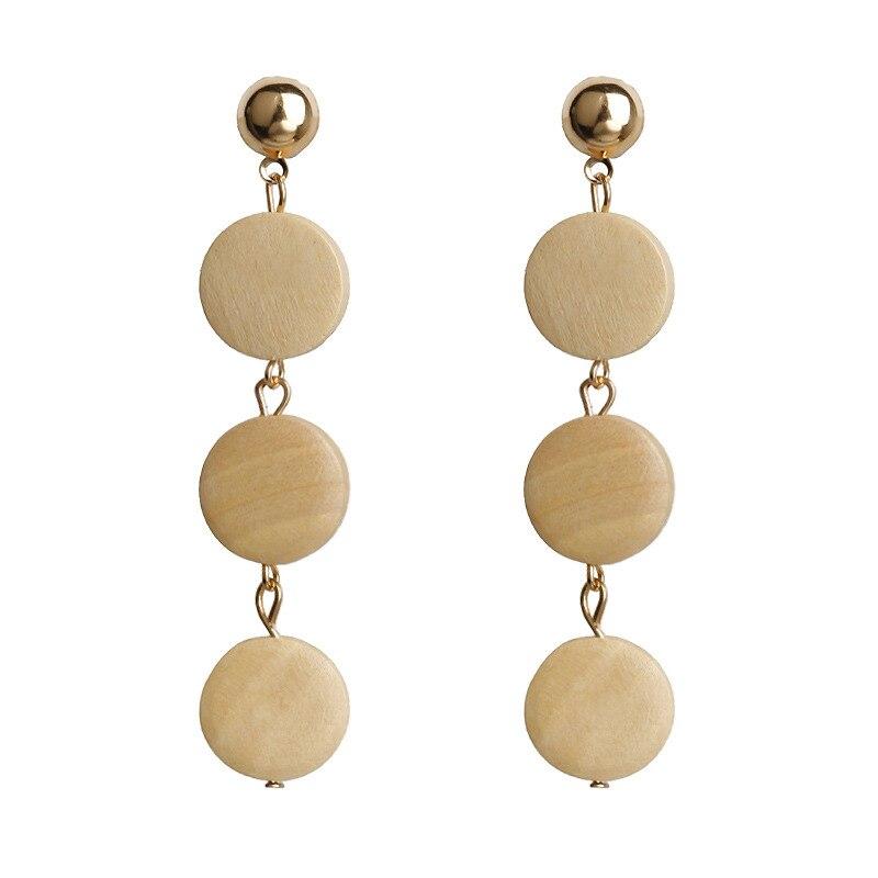 Bohemia Wooden Dorp Earrings For Women Long Tassel Summer Beach Fashion Jewelry Red Wood Beads Wedding Earrings