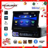 Retractable 1 Din 7 inch Car Radio Mirror Link Audio HD Touch Screen MP5 Player Bluetooth Radio USB/TF/FM/SD Support Rear Camera