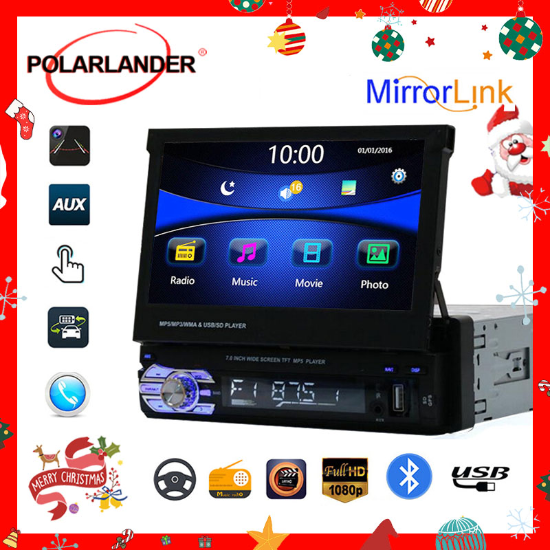 Retractable <font><b>1</b></font> <font><b>Din</b></font> 7 inch <font><b>Car</b></font> Radio Mirror Link <font><b>Audio</b></font> HD Touch Screen MP5 Player Bluetooth Radio USB/TF/FM/SD Support Rear Camera image