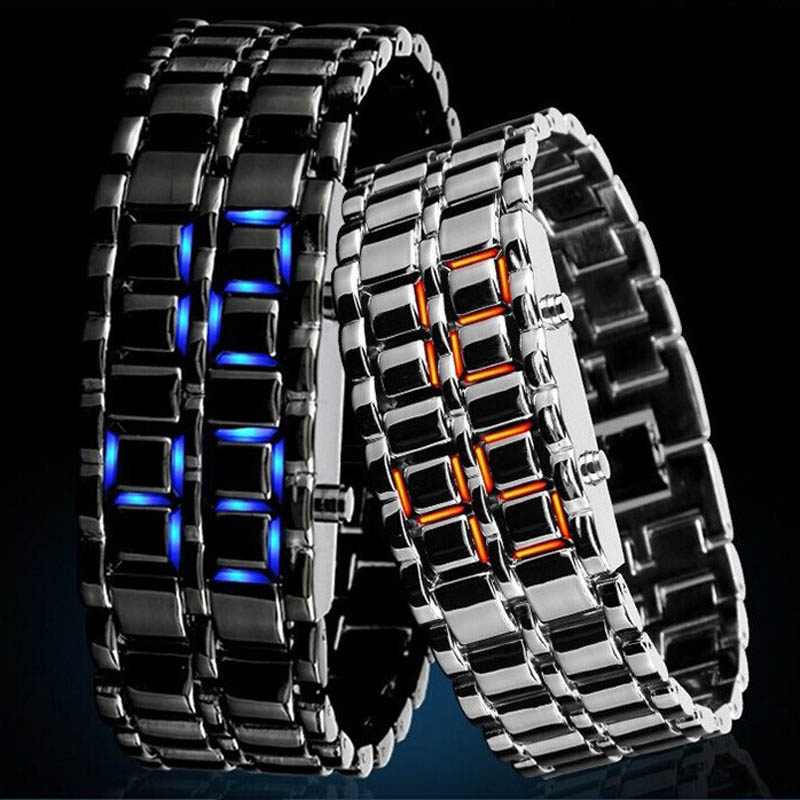 Lava Iron Samurai Men`s Watch Luxury Stainless Steel Band LED Watches Date Hour Punk Bracelet Sport Wristwatches reloj hombre