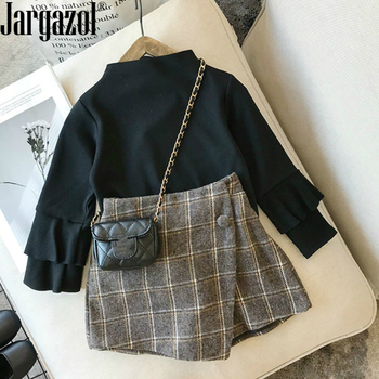 Autumn olde baby girls clothes set Plaid Skirt Fashion Elastic Waist Children Shorts Clothing set Kids Skirts Girls bebes 2-7T 1