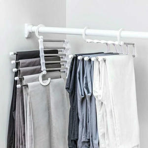 Newest Fashion 5 in 1 Pant rack shelves Stainless Steel Clothes Hangers Multi-functional Wardrobe Hot Sale Magic Hanger