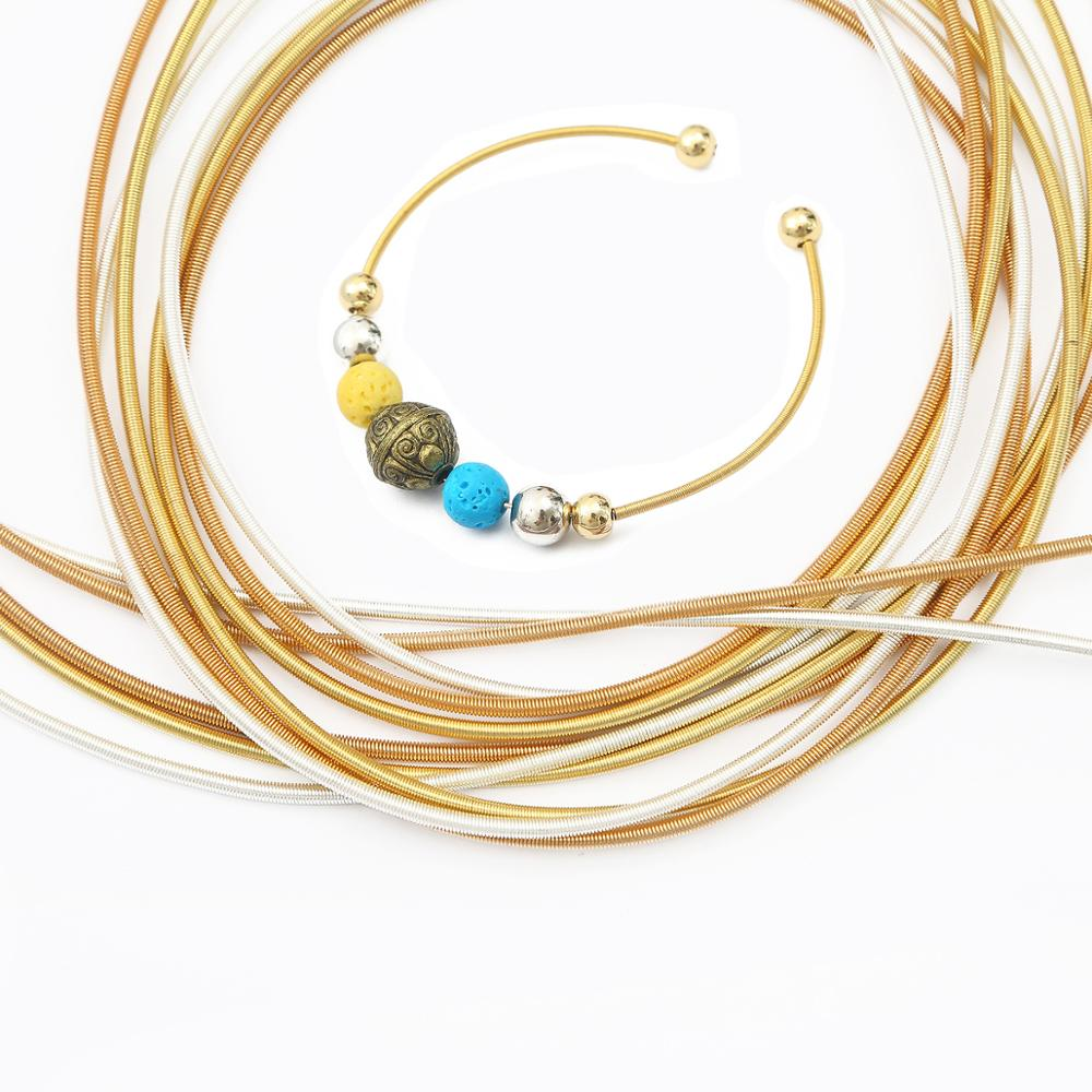 Gold Silber Überzogene Eisen Metall Frühling Draht Seil Anschlüsse für DIY Ohrring Armband Schmuck Herstellung Frühjahr Kette Zubehör