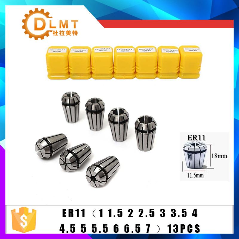 13pcs/set ER11 1-7MM Spring Collet High Precision Collet Set For CNC Engraving Machine Lathe Mill Tool