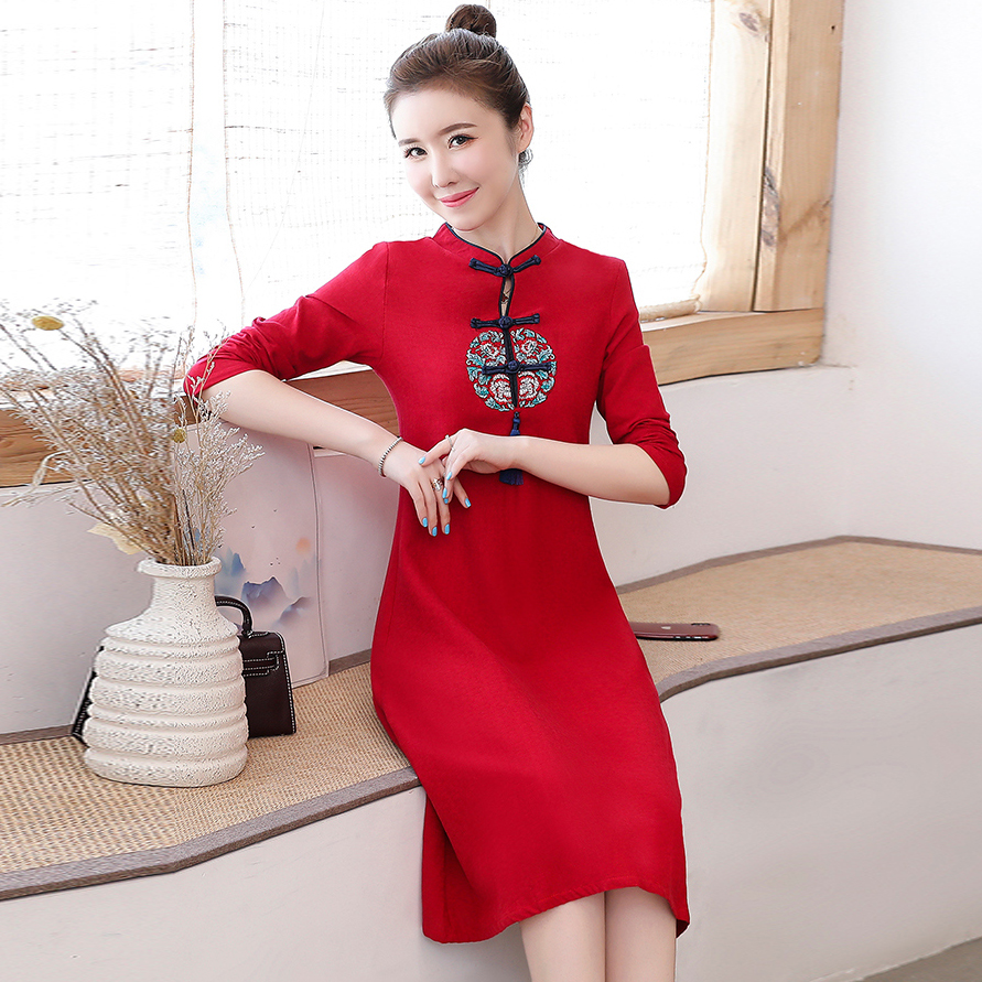 2020 Chinese Dress Ladies Evening Party Dress Vintage Mandarin Collar Qipao Elegant Chinese Bride Wedding Cheongsam Vestidos