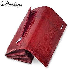 Image 5 - DICIHAYA ของแท้หนังกระเป๋าสตางค์ผู้หญิง Fallow ยาวคู่ซิปกระเป๋าสตางค์คลัทช์กระเป๋ากระเป๋าถือสีแดงจระเข้กระเป๋า