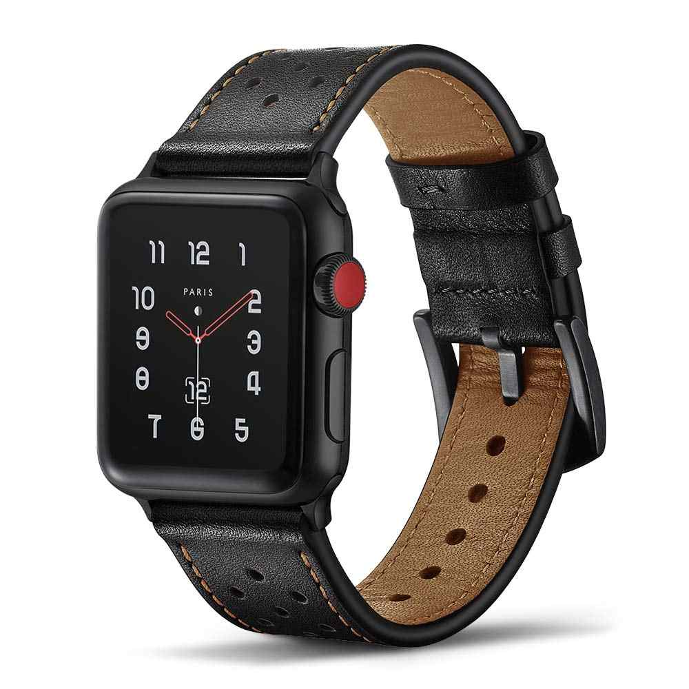Leather strap For Apple Watch 4 5 band 44mm 40mm iWatch band 42mm 38mm First layer Genuine leather watchband for apple watch 3 2