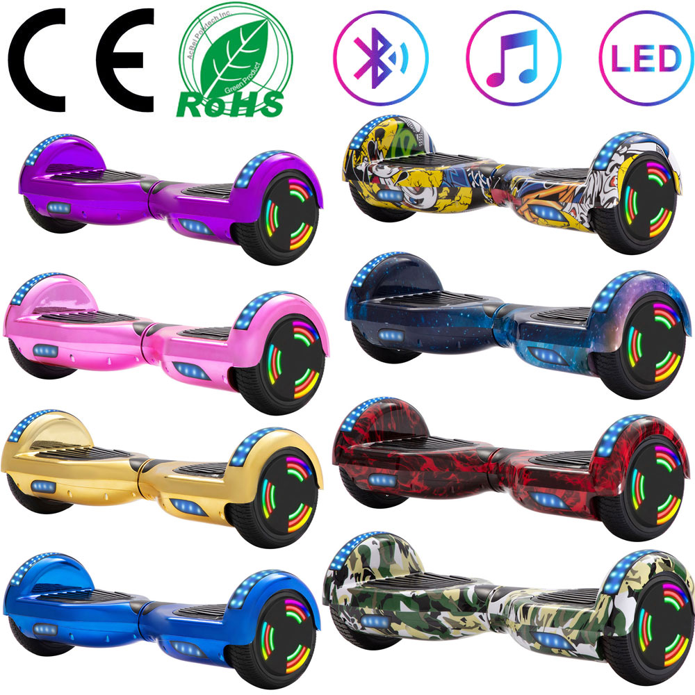 Electric Scooters 6.5 Inch Self Balance Hoverboard Two Wheels Lights Skateboard Balance Board Kids LED Bluetooth+Remote Key+Bag
