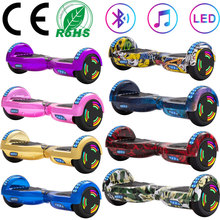 Skuter elektryczny 6 5 Cal samobalansujący Hoverboard dwa koła LED Lights deskorolka Balance Board dla dzieci z Bluetooth + torba tanie tanio 30 km h 36 v Aluminium stop 500 w 10-30 km Bateria litowa 6 5 Inch Black Graffiti White Chrome Purple Chrome Blue Chrome Gold