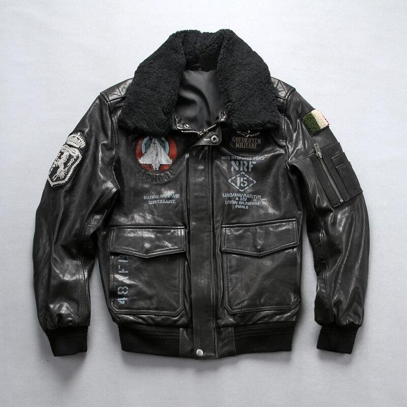 Factory 2020 New Men Black Air Force Flight A1 Pilot Jacket Lamb Fur Collar Embroidery Seahorse Rel Leather Sheepskin Jackets