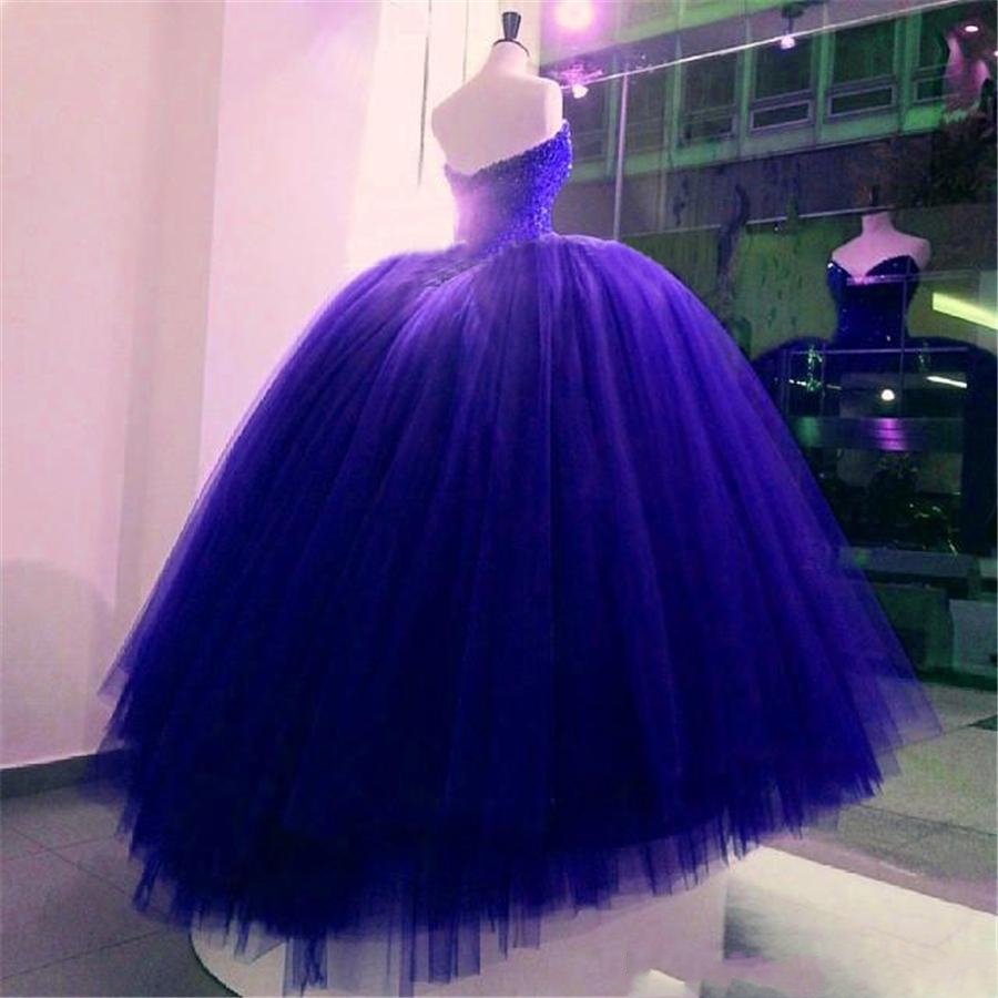 Crystal Beaded Bodice Corset Royal Blue Wedding Dresses Ball Gowns