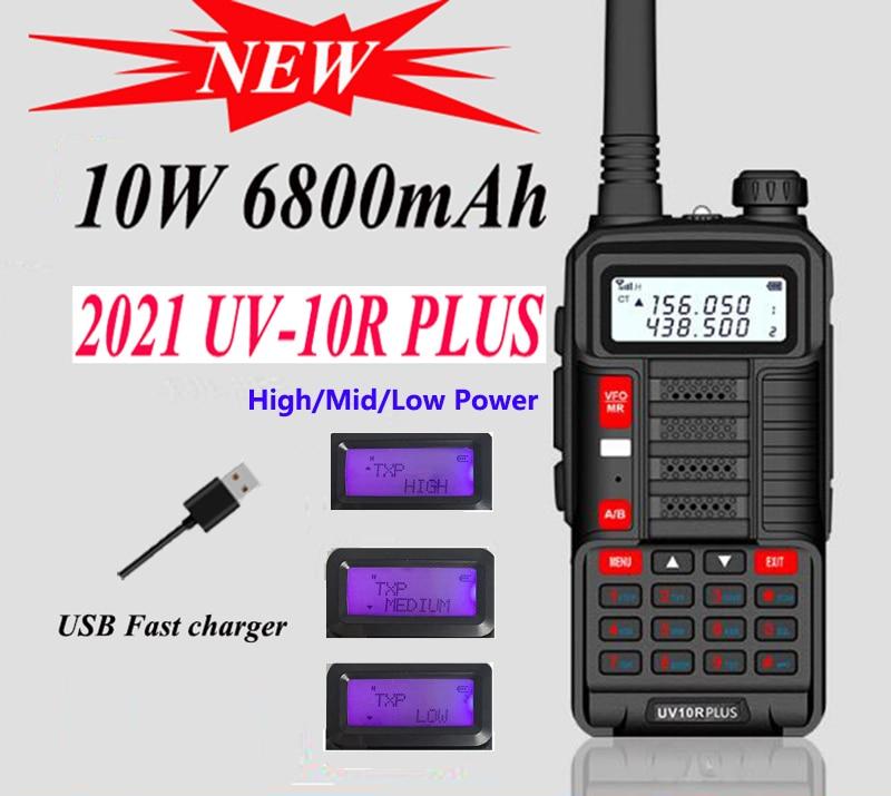 Novo 2021 baofeng uv 10r plus 10w walkie talkie para a caça 40 km cidade estação de rádio presunto amador atualizado Uv-5R hamradio vhf uhf