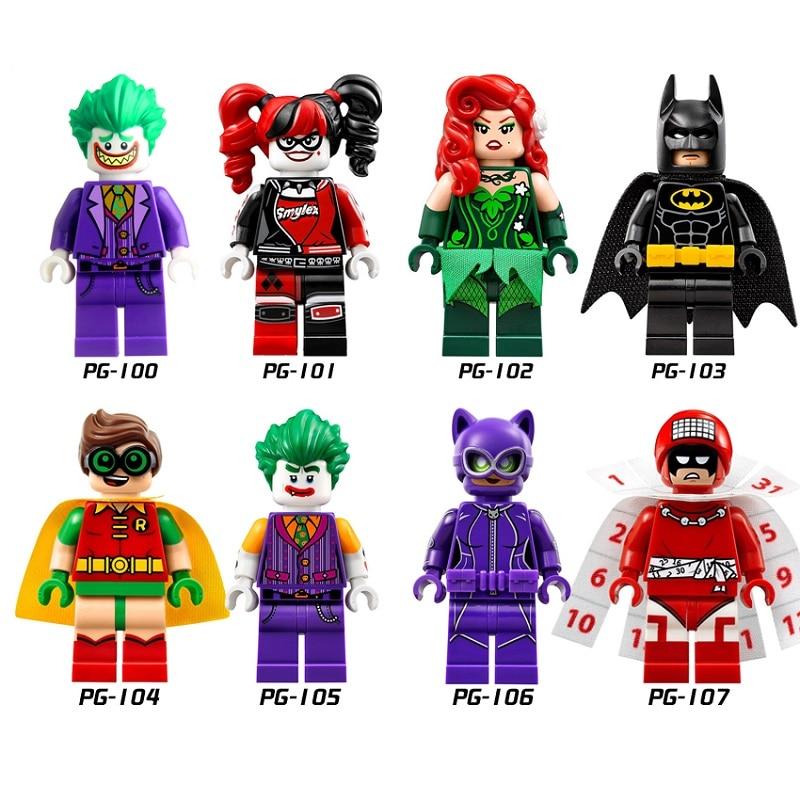 Venda única legoing dc super heróis coringa robin batman veneno ivy harley quin brinquedos de construção tijolos palhaço catwomen legoings brinquedos