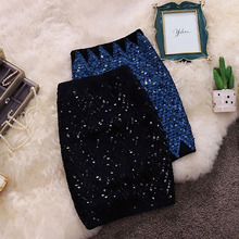 Short Skirts Hip-Pencil Sequin Street-Party Sexy Fashion Striped Bling Elastic OL New-Arrive
