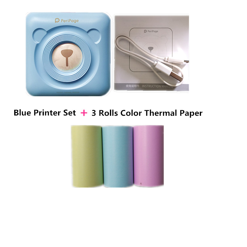 printer fotografik termik photo printer bluetooth thermal inkless and 3 rolls color paper