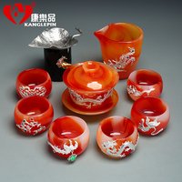 Kangle product set with silver gilt glazed glazed kung fu tea set Office home agate jade teacup gift box kung fu tea set