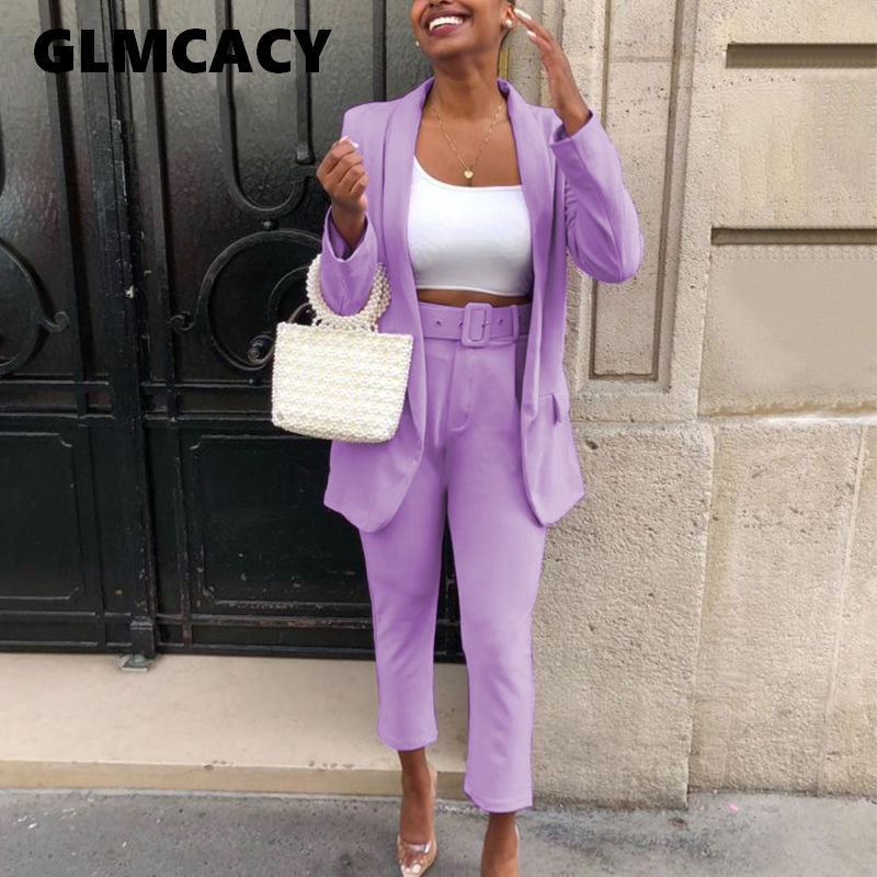 Women Two Piece Sets Shawl Lapel Collar Long Sleeve Blazer & High Waist Bodycon Ankle-length Pants Chic Workwear