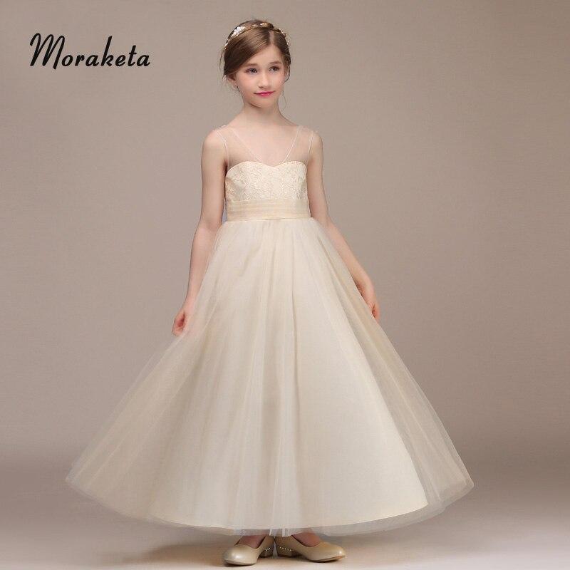 V-neck Shoulder Straps Sleeveless A-line Floor-length Champagne   Flower     Girl     Dresses   For Wedding 2019 Junior Bridesmaid   Dresses