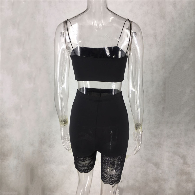 H87196df388e548ad8129086b6d76dd708 - WUHE Lace Patchwork Sexy Spaghetti Strap Jumpsuits Women Off Shoulder Sleeveless Elegant Bodycon Bandage Party Short Playsuits