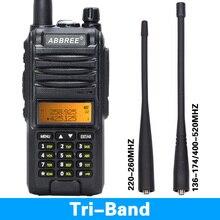 Abjessie Walkie Talkie AR F3 de tres bandas, 8w, uhf, vhf, 2020 220 MHz, ham, de largo alcance, transceptor de radio bidireccional, uv 5r de senderismo, 260
