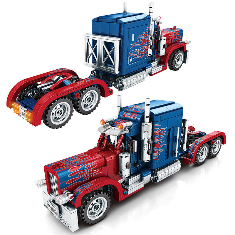 849PCS Peterbilt 389 Pesante Camion Container Fit Legoing Technic Modello Building Blocks Set Classic Car Mattoni di Giocattoli Per Bambini Regalo