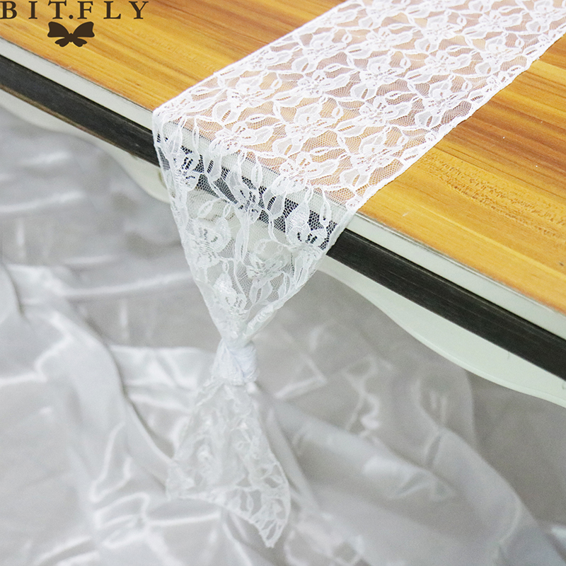 18x275cm Modern White Floral Lace Table Runner Table Cover Chair Sash Boho For Baby Shower Wedding Banquet Party Decoration