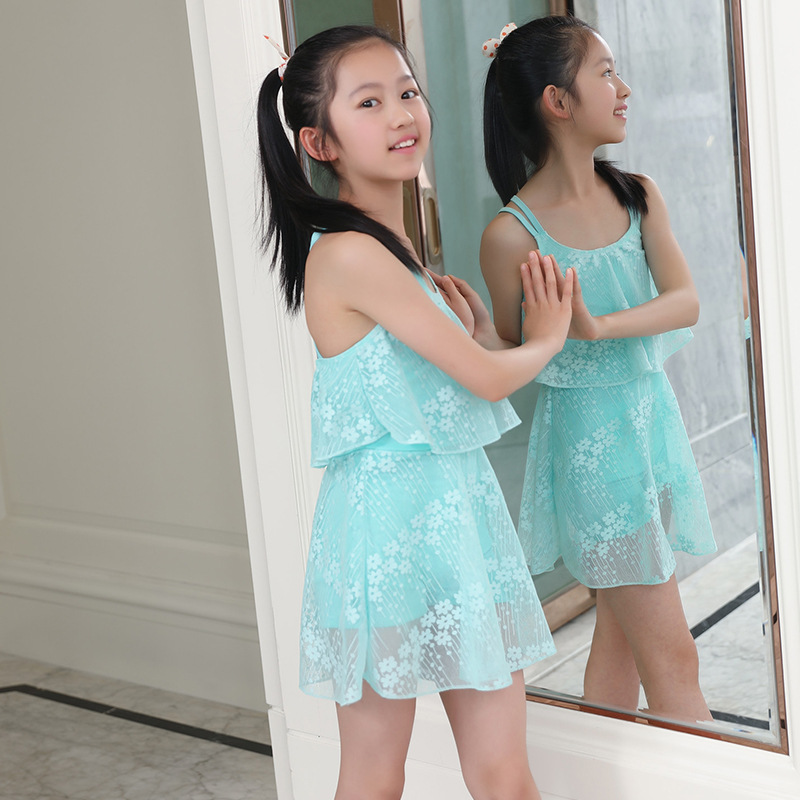 New Style Small Floral One-piece Swimming Suit 6-9-Year-Old Lace GIRL'S Swimsuit Korean-style Qmilch Princess Dress-Swimming Sui