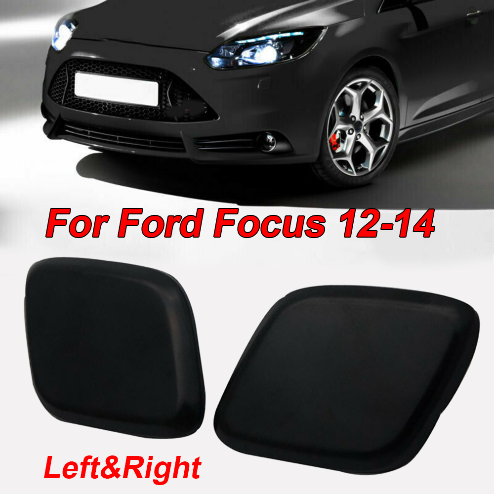1Pair Front Headlight Headlamp Washer Jet Cover Caps for Ford Focus 2012-2017