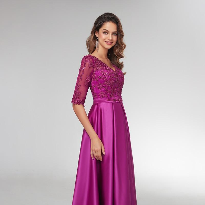 Púrpura 3/4 Vestidos de Noche de manga larga 2019 elegante encaje apliques con cuentas largos vestidos formales ilusión cuello en V vestido de graduación de satén - 4