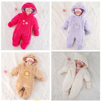 2019 newborn winter jackets for baby girls clothing coral fleece coats winter jumpsuits outerwear romper baby boys clothes