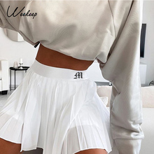 Women Skirts Elastic White High-Waist Mini Weekeep Embroidery Casual All-Match Letter