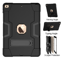 "High Duty Armor Cover For iPad 10.2"" 2019 A2200 A2198 A2233 Case Shockproof Silicon Stand Funda For iPad 7 10.2 2019 Case"
