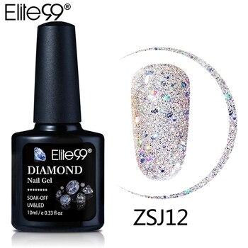 Elite99 10ml diamentowy kolor paznokci żel UV lakier żelowy LED ze świecidełkami brokatem cekiny Soak Off baza Top podkład żelowy lakier do paznokci lakier