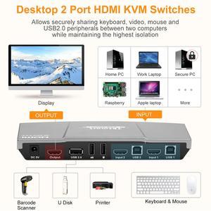 Image 3 - 2X1 Kvm Switch 4K60Hz Hdmi Kvm Switch 2Port Tesmart Hdmi Switch Ondersteuning 3840*2160/4K * 2K En Usb 2.0 Poorten Toetsenbord En Muis