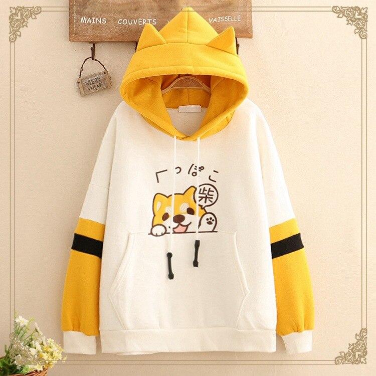 Harajuku Hoodie Shiba Inu Doge Sweatshirt Kawaii Cotton Blend Long-sleeved Cap Hooded Coat Anime Style Sweatshirt Christmas