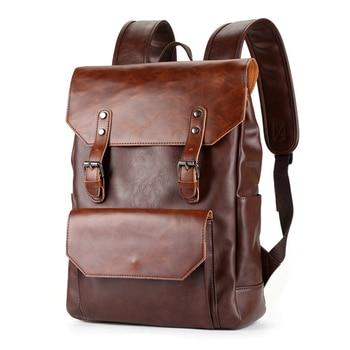 Bussiness Men Backpack Pu Leather Vintage Waterproof Mens Bags Sport Travel Bag School Plecak Brand Male Laptop Flat Backpacks
