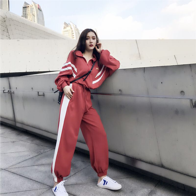 2020 Women Two Piece Set Short Top And Pants Streetwear Tracksuit Woman Zipper Patchwork 2 Piece Outfits Casual Trousers Suit