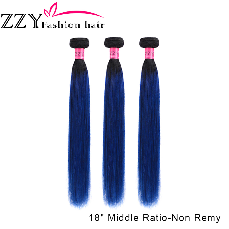 ZZY Fashion Hair Ombre Human Hair Bundles Brazilian Hair Weave Straight 3 Bundles Non-remy 1B Blue Colored Hair Extensions