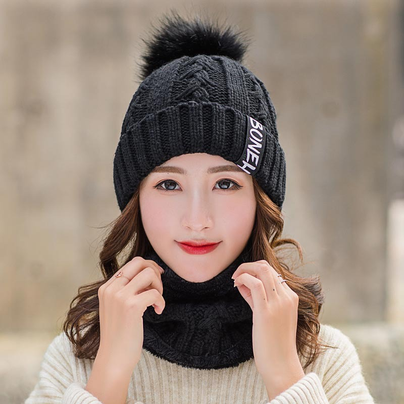 Winter Hats For Women Scarf And Hat Set Kitted Wool Warm Hats Ring Scarves Unisex Pompom Hat Scarf Female Set Bonnet