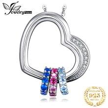 Coeur créé rose bleu saphir pendentif collier 925 en argent Sterling pierres précieuses Choker déclaration collier femmes sans c