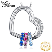 Heart Created Pink Blue Sapphire Pendant Necklace 925 Sterling Silver Gemstones Choker Statement Necklace Women Without Chain